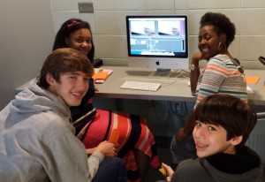 After viewing a professional tutorial, Convergence Media I students began editing their own clips.