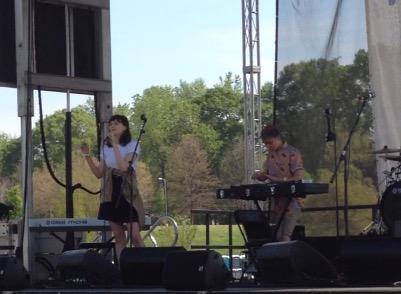Caroline Barber (left) and Thomas Sinclair (right) performing at the Atlanta Dogwood Festival