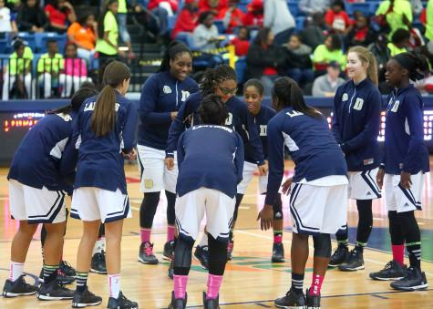 The Lady Bulldogs get pumped before the elite eight game