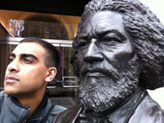 Faizal Emamuallee poses with Frederick Douglass in New York City last Spring break.