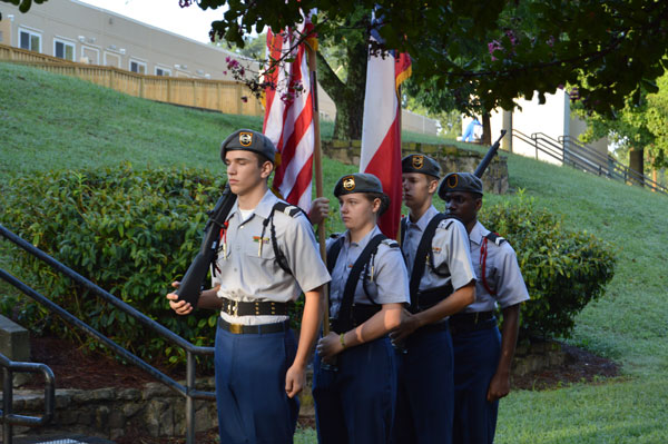 Christina Sands instructing the color guard.