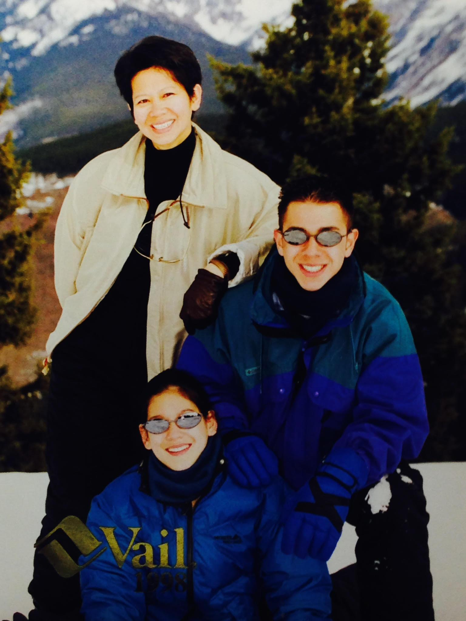 Thaivi, Mikhail and Nathalie go on a winter break ski trip in Vail, Co., 1998.