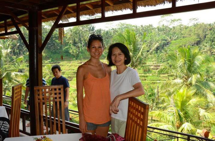 Nathalie (left) and Thaivi after Nathalie's graduation from Louisiana State University Vet School in Bali, Indonesia.