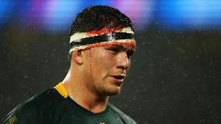 South African player Francois Louw walks off the field after losing to New Zealand. Louw has scored 15 points this world cup, has an 88 percent tackle success and has carried 102 meters (335 feet).