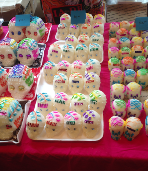 Sugar skulls are a popular candy that is sold at Dia de los Muertos festivals.