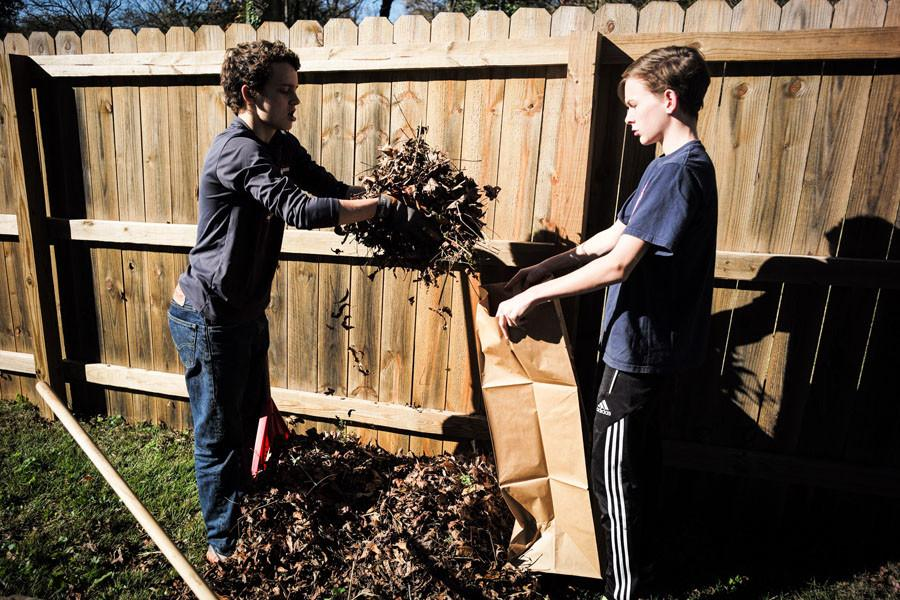Close-Up club rakes leaves in annual project