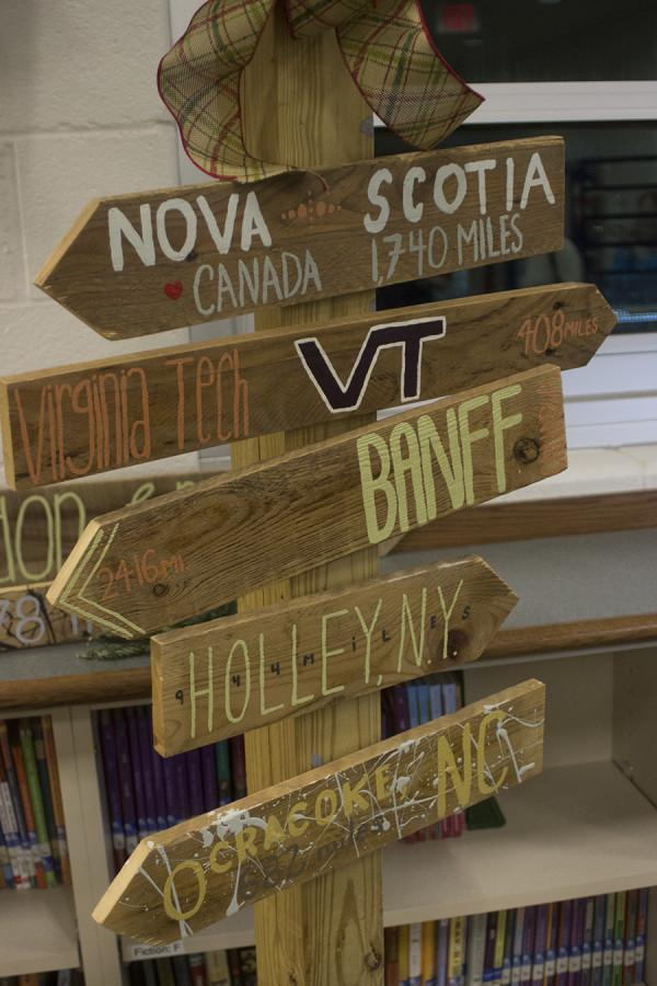 The finished products of the art are unique to each customer. The destination signs point to places that have meaning to the customer. Each arrow sells for $12 and $10 for each additional one.