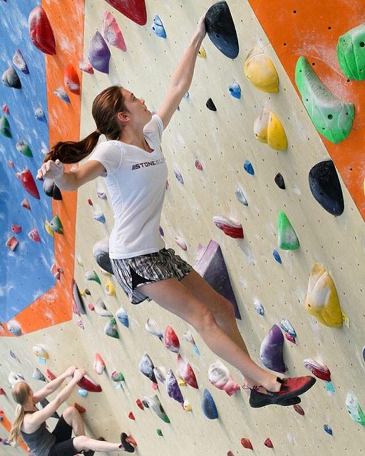 Audrey Miller is a member of Stone Summit in Kennesaw, Ga. She warms-up for a training session for nationals in June 2015.