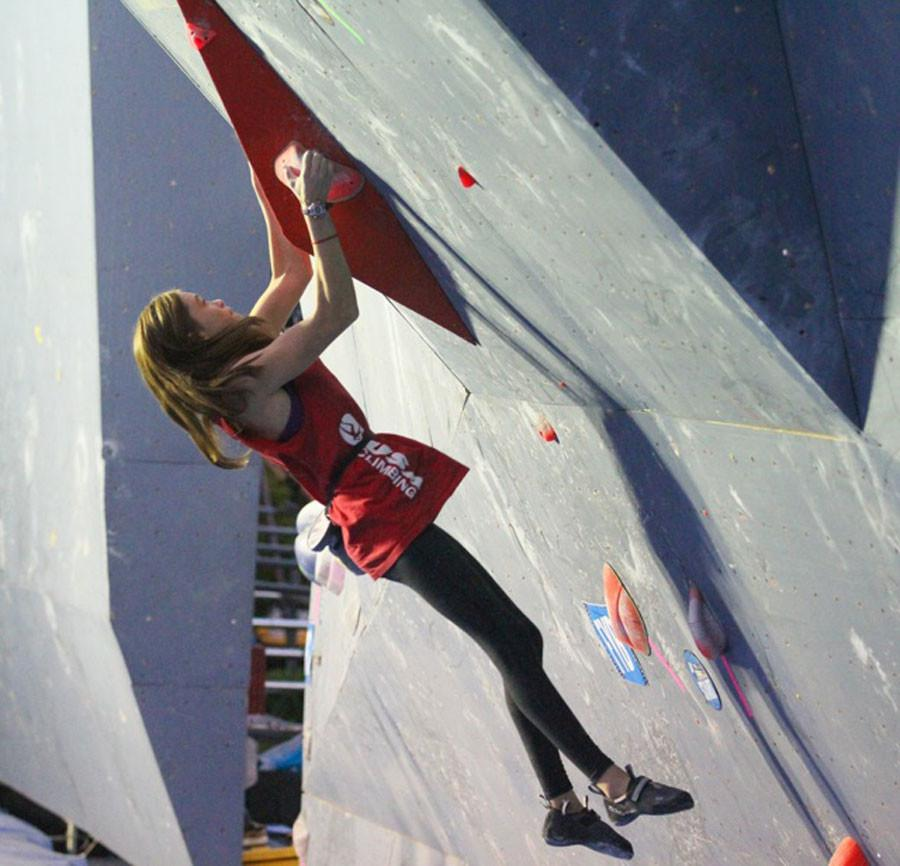 Audrey Miller goes to Mexico City, Mexico, and competes in the youth continental championships in bouldering in November 2014. She finishes the semi-finals  problem 2.