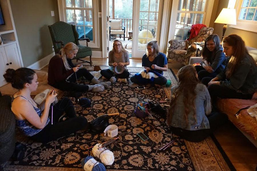 Members of the knitting club met at Elizabeth Swank's house to relax and knit.