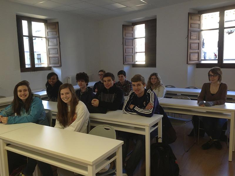 Snappedon the 2014 Spain trip, current seniors and Decatur alumni sit in on their morning classes at the University of Salamanca.