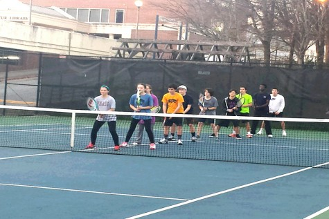 The girls tennis team scrimmages witht the boys tennis team during practices. Their practices take place at Glenlake Park or at the Scott Parks courts behind the library.