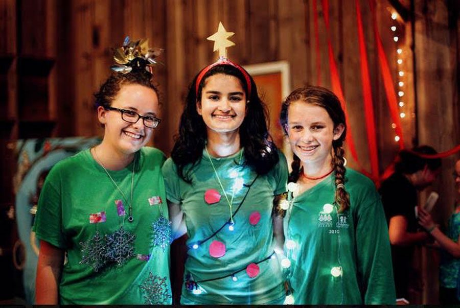 Brush and her fellow campers attended CJLs Christmas in July part dressed as Christmas trees. Each unit was given their own theme to dress up as for the party.
