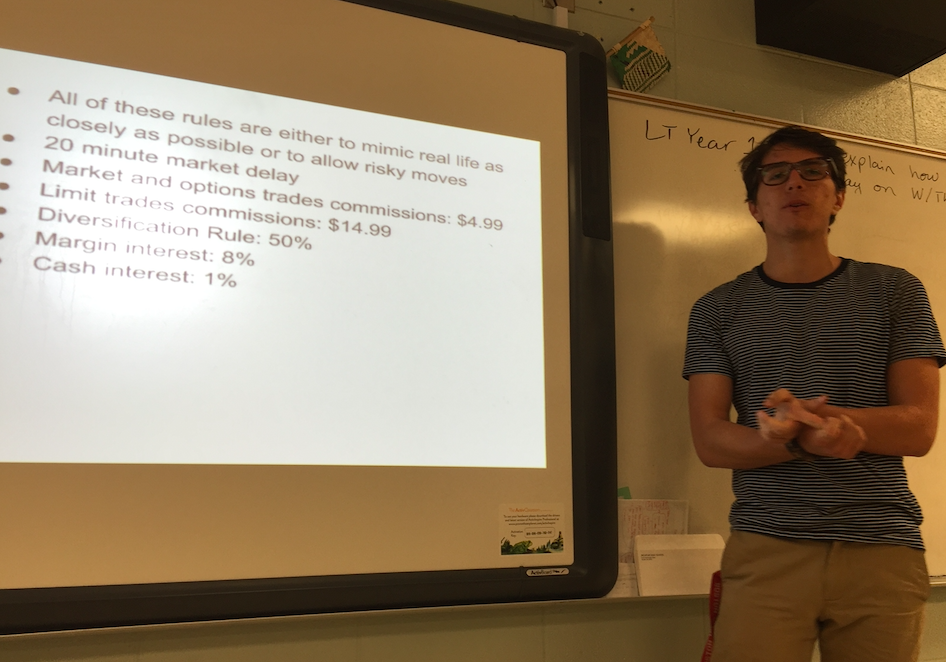Senior Luke Chandler, a co-founder of the club, put together a slideshow for the first meeting. He explained the goals of the club, how investments work, and the process of the stock market game.