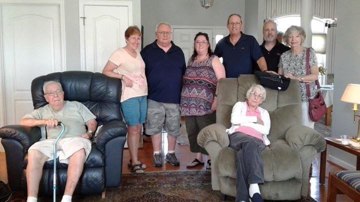 My grandmother, seated in the right chair, with her brother (left chair) and my aunts and uncles. My grandmother's brother, Bill, suffers from a less severe form of dementia.