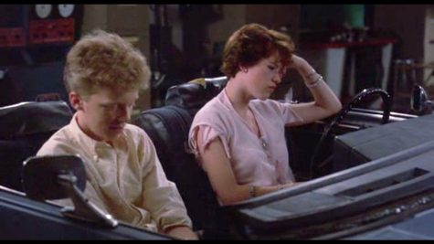 "Sam (Molly Ringwald) and ""the Geek"" (Anthony Michael Hall) escape a school dance in the auto shop where Sam confesses her love for Jake."