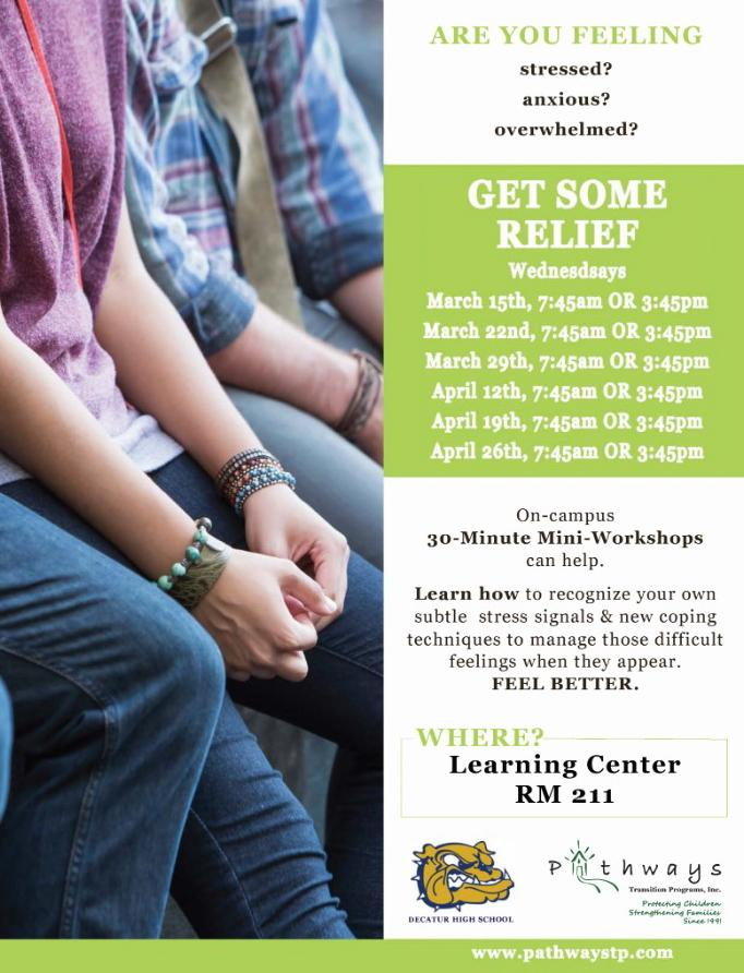 "Decatur offers ""Relief Wednesdays"" to help students cope with stress"