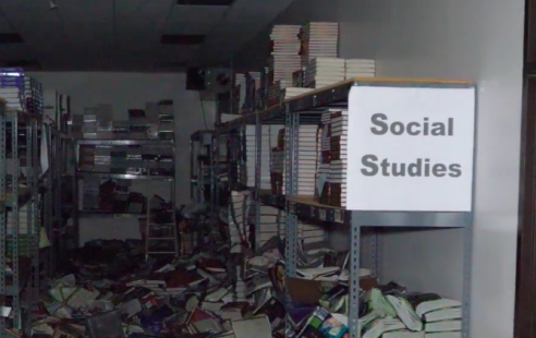 The book room in Kingwood High School after Hurricane Harvey hit via Humble ISD Texas's Youtube channel.