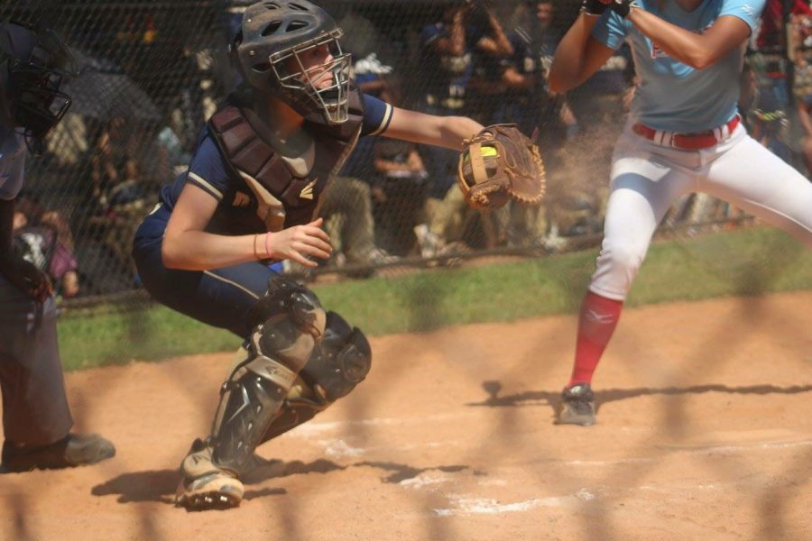 Senior Audrey Wheeler, a catcher, is part of a senior group that has played on varsity for four years.