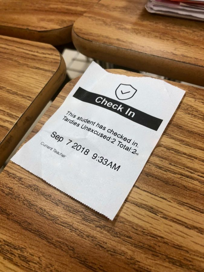 An example of a tardy pass resulted from the new attendance polices.