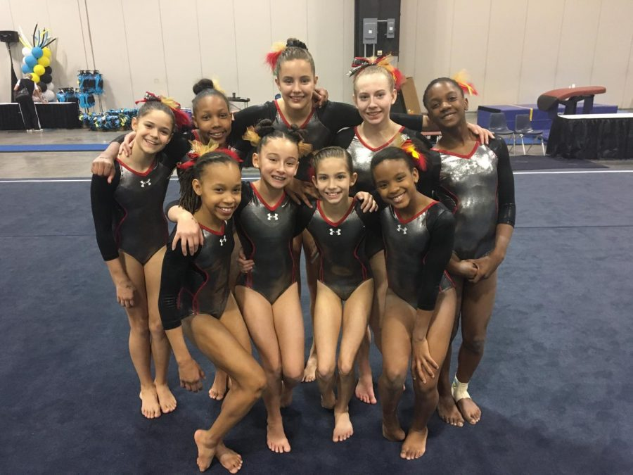 Freshman Mei McNally (bottom second to the left) and sophomore Morgan Pope (top second to he right) pose with their old gymnastics team with their old team from the Atlanta Gymnastics Center.