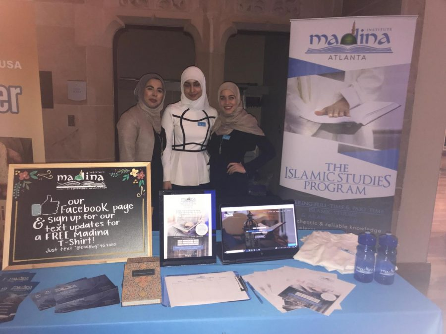 Islamic organizations and schools such as Madina Institute set up booths to attract event goers. Pictured (from left to right) is Sofia Sharif, Maria Khan, and Sara Abdualrub.