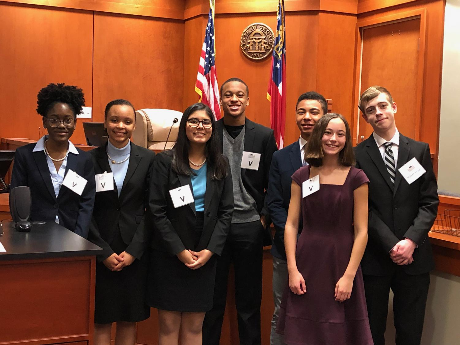 Decatur's mock trial defense team after competing in their first competition of the year. From left to right, Lauryn Williams, Rebecca Rayburn, Nayeli Shad, Daxton Pettus, Seth Bellenguezclark, Alexis Siegler and Connor Coltrane.