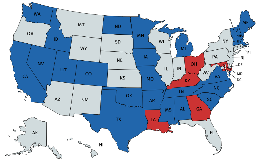 States+in+red+have+postponed+their+primaries.+States+in+blue+have+already+voted.