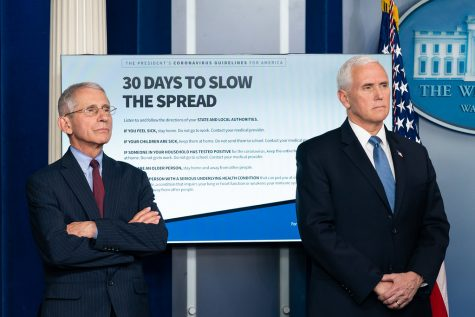 Dr. Anthony Fauci (left) and Vice President Mike Pence (right) at a daily coronavirus briefing. Photo Courtesy of Flickr.