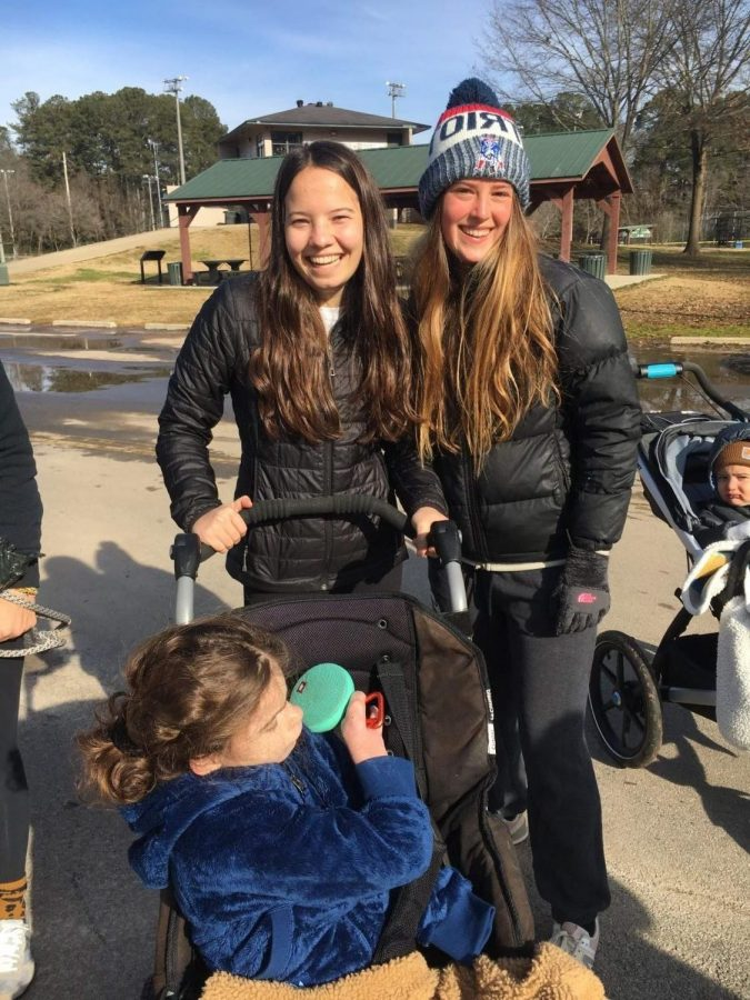 Kira Czech, Hannah Pomfret, and Maya Pomfret participating in the 5k on Sunday, January 10th.