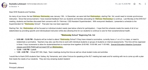 On Jan. 15, Lofstrand sent out an email discussing the contents of the new, discussed plan, taking into account the student and parent perspectives at the SLT meeting.