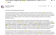 Senior projects cancelled by Principal Lofstrand